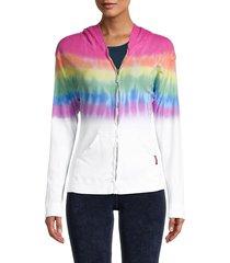 hard tail women's print zip-up hoodie - rainbow
