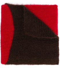 marni two-tone striped scarf - red