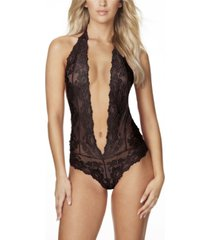 women's plunging halter teddy with galloon lace and open back