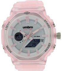 reloj transparente rosa umbro
