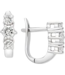 platinum by wrapped in love diamond three stone drop earrings (1/2 ct. t.w.) in platinum, created for macy's