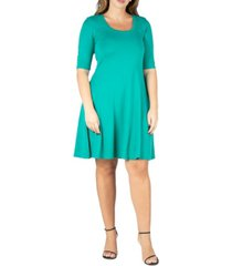 24seven comfort apparel women's plus size elbow sleeve dress