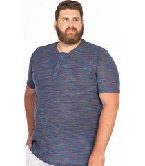 camiseta longford henley plus size mescla colors azul - azul - masculino - dafiti