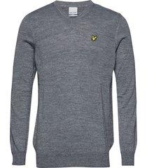 golf v neck pullover stickad tröja v-krage grå lyle & scott sport