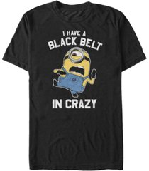 fifth sun minions men's black belt in crazy short sleeve t-shirt