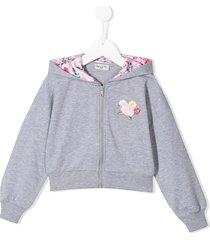 monnalisa floral hoodie - grey