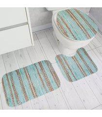 jogo de tapetes para banheiro tapetes junior transfer gold em poliéster azul antiderrapante 3 peças