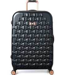 ted baker london large beau bow embossed four-wheel 31-inch trolley suitcase -