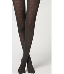 calzedonia crisscross pattern tights with cashmere woman black size 3/4
