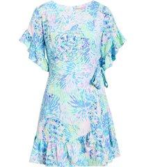 women's lilly pulitzer darlah print ruffle dress, size 14 - purple