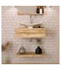 conjunto para banheiro bancada com cuba f44 folha e prateleira city 605 carvalho