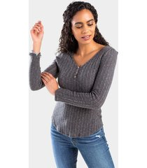 deann button front top - charcoal