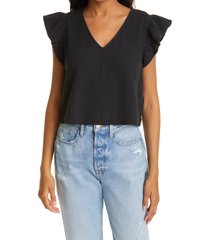 rails miley flutter sleeve top, size small in black at nordstrom
