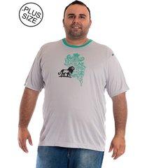 camiseta konciny manga curta plus size cinza claro