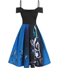 music notes microphone print open shoulder festival dress