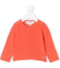 bonpoint embroidered cherry cardigan - orange