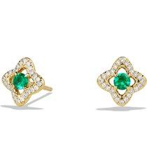 women's david yurman 'venetian quatrefoil' earrings with precious stones and diamonds in 18k gold