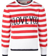 alberta ferretti red and white sweater with blue i love you writing for kid