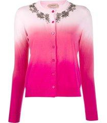 twin-set cardigan com aplicação na gola - rosa