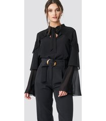 na-kd party tie neck layered sleeve blouse - black