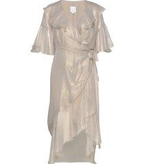 petr lla frill dress knälång klänning guld hálo