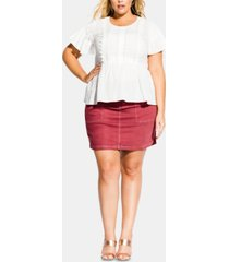 city chic trendy plus size summer delight embroidered top