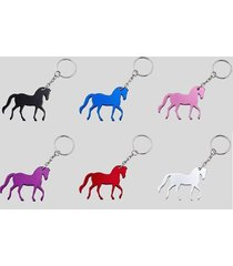aluminum equine prancing horse key chain - black blue pink purple red silver