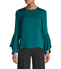 holly silk-blend bell-sleeve blouse