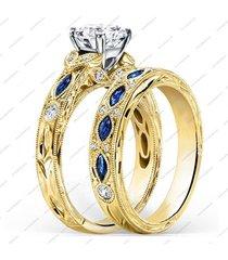 1.45 ct sim. diamond 14k gold plated 925 silver engagement wedding band ring set