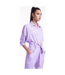 camisa listrada de linho lilas c/ listra azul - 44
