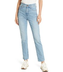women's madewell women's the perfect high waist full length jeans, size 31 - blue