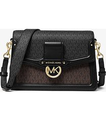 mk borsa a spalla jessie media con logo bicolore - brown multi - michael kors