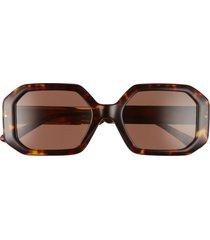 women's tory burch 52mm irregular sunglasses - dark tortoise/ dark brown