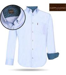 cappuccino italia heren overhemd borstzakje licht blauw