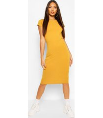 cap sleeve bodycon midi dress, mustard