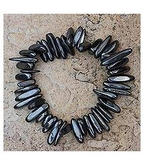 hematite beaded stretch bracelet, 'grey spikes' (brazil)