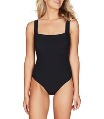 women's sea level square neck ribbed one-piece swimsuit, size 6 us - black