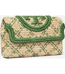 tory burch women's fleming soft straw clutch - natural/arugula