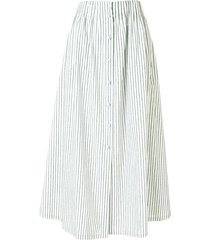 by any other name striped flared midi skirt - green