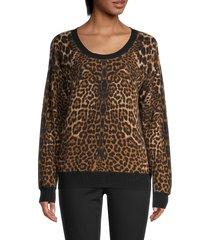 amicale women's leopard-print cashmere sweater - camel multi - size s