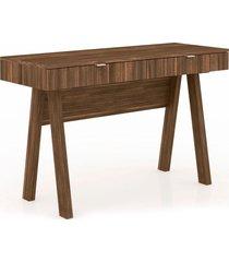 mesa para escritório 2 gavetas me4128 tecno mobili nogal e pés nogal videira