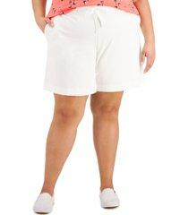 karen scott plus size drawstring-waist knit shorts, created for macy's