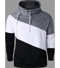 color block raglan sleeve hoodie