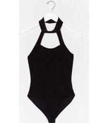 womens something to slink about halter high-leg bodysuit - black