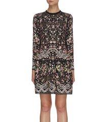 'elsie ribbon' floral embroidered mini dress