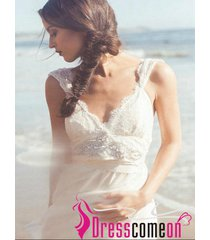 summer beach wedding dress with straps lace white wedding gown bridal dresses