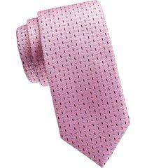 eton men's neat silk tie - pink red