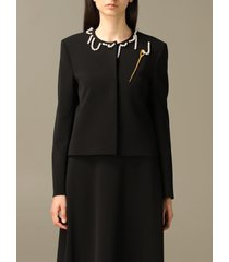 boutique moschino blazer boutique moschino crew neck jacket with needle and string of pearls