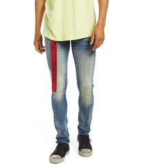 men's cult of individuality men's belted punk super skinny stretch jeans, size 33 - blue