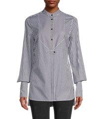 rosetta getty women's poet-sleeve striped tuxedo shirt - black white - size 4